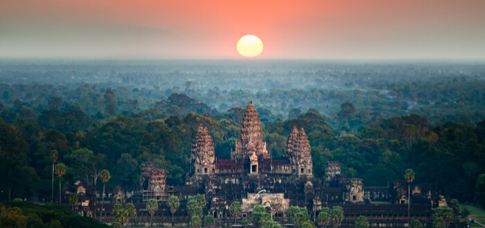 Siem Reap, Cambodia - aerial view of Angkor Wat at sunrise