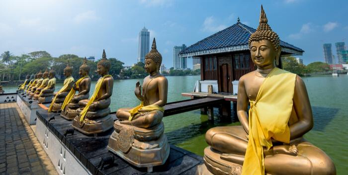buddha statues seema malaka temple colombo, sri lanka